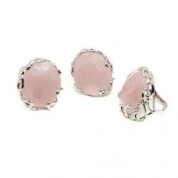 Inel cuarț roz